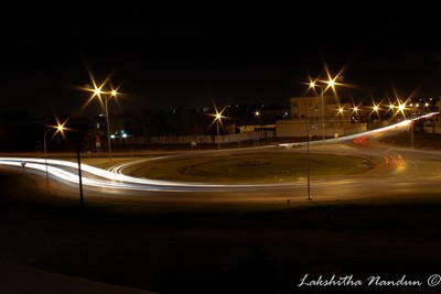 Light trails of a Round about