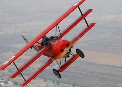 Fokker DR.I replica over the Prado Dam area of Chino, California