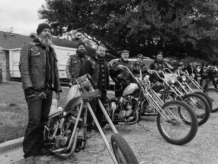 The motorcycle club pictured is attempting to preserve the past with their dedication to riding n...