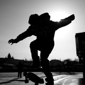 This picture was taken at my school on a Saturday when me and a friend went street skating, it was a clear sunny day and I love the silhouette wh...