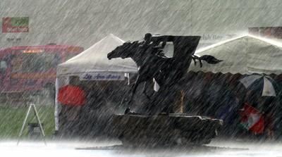 Horse & Jockey Sculpture