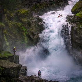 Some insane kayakers making the most of the heavy rains at Silver Falls, Mt. Rainier, Washington.