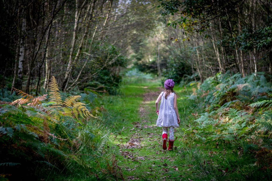 My daughter walking in the new Forest National Park, UK.