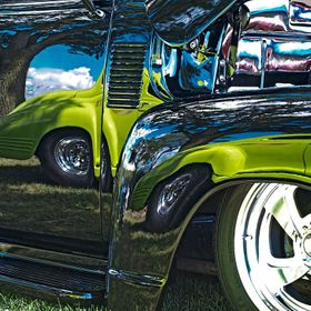 An absolute frenzy of colors reflected in a hot rod at a Madison, Wisconsin car show a few years ago.