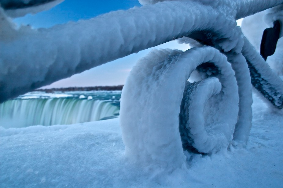 the ice fence at niagra falls from the candian side.