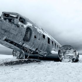 A downed DC-3 plane from 1973 on the black sand beaches in Iceland. Everyone survived.
