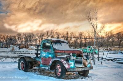 Truck, transport, sunset, vintage