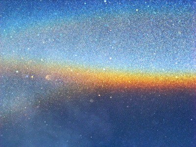 Ice crystals forming rainbow