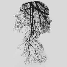 Multiple Exposure of tree branches and a woman.