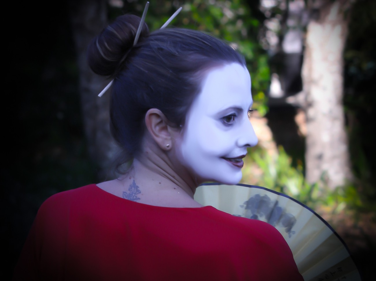 """Carmella Baynie preparing for a performance as part of the opening of the installation, """"Haiku"""", by Yantra de Vilder at the Gosford Regional Art Gallery."""