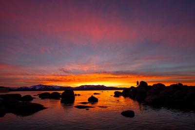 Jumping goblin at Tahoe sunset