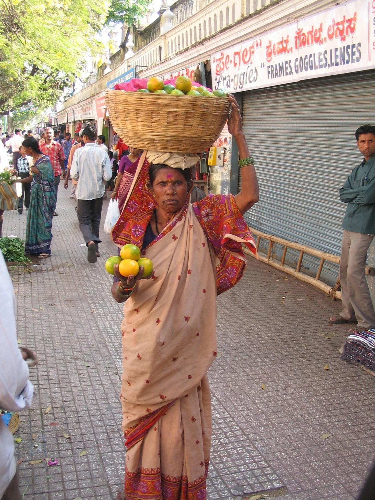Woman Selling Oranges Mysore