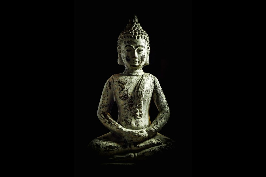My Buddha Full Body Wide on a pitch black background, with three point lighting.  Hope you've e...