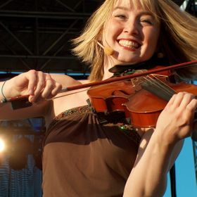 One of the fiddle players for Barrage, taken at the Orange County Fair
