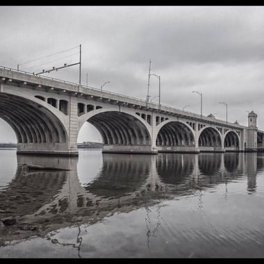Actually this is Hanover Street Bridge that connects Brooklyn to Baltimore. On a gray day and relatively calm day.