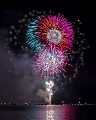 colorful fireworks over the lake