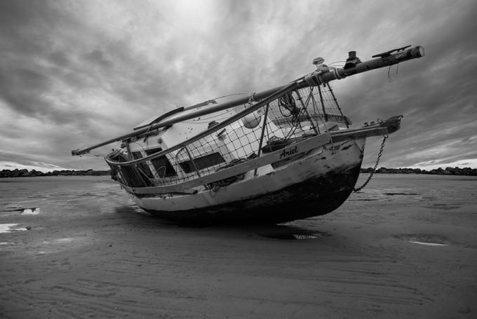 Boat with stormy sky by stormgirl1960 - A Black And White World Photo Contest