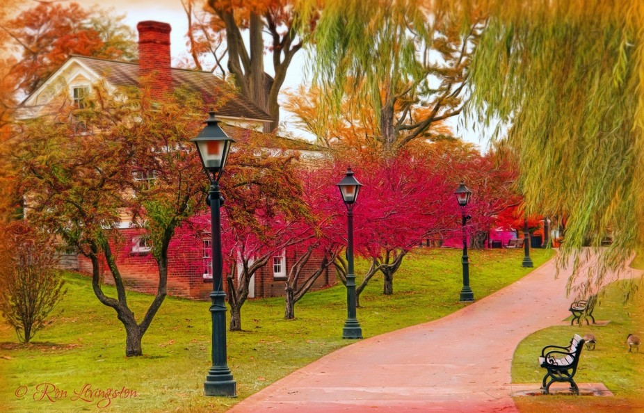 Side walk in Greenfield Village in autumn.