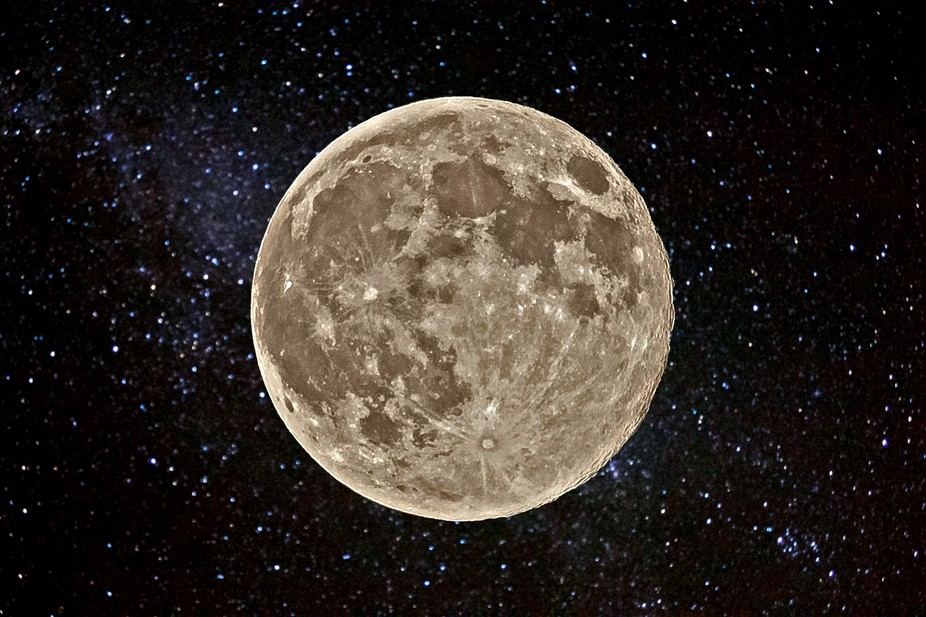 The moon was closest to Earth in August 2013 and isolated against a dark sky. I added a previous ...