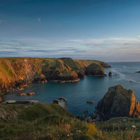 This is a shot of the Mullion Cove in Cornwall UK at sunset.