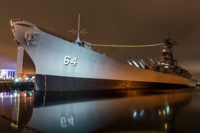 USS Wisconsin Night by boski - Metallic Matter Photo Contest