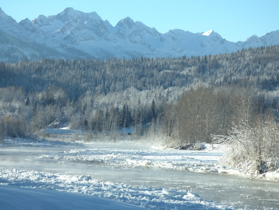 This river, The Elk River, flows through the City of Fernie, B.C. It is fed by natural sulphur sp...