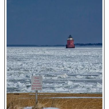 Frozen Chesapeake Bay -- lighthouse standing guard over nothing.........