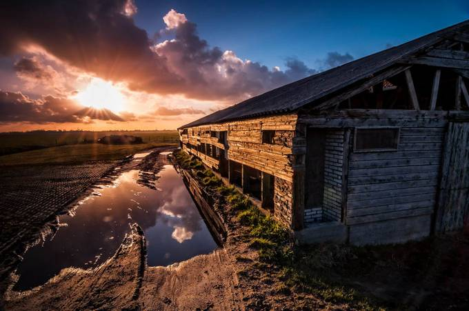 The Puddle & the Barn by martijnvdnat - Farms And Barns Photo Contest