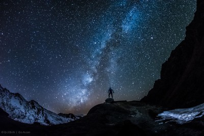 Alone in night mountains