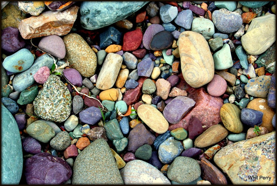 Multi-colored rocks on the Nort Fork of the Flathead River in Montana