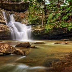 Cedar Falls in Hocking Hills Ohio. This is a very popular tourist attraction in Ohio.