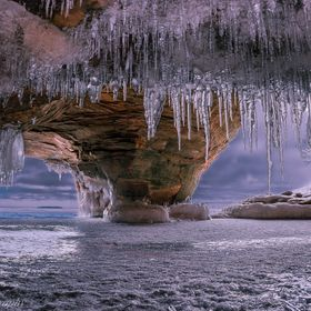 I took this photo at the Apostle Islands Ice Caves just outside Cornucopia Wisconsin on the shores of lake Superior. To access the caves starts a...
