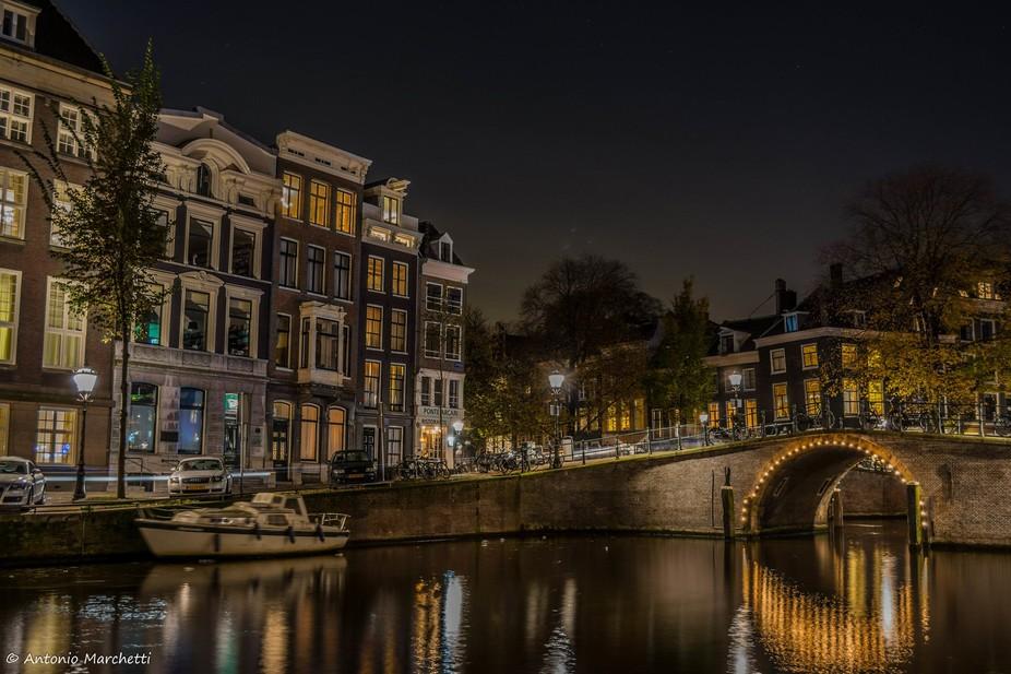 Nightscape in Amsterdam. November 2014.