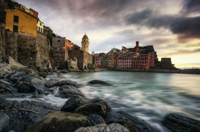 Sundown over vernazza by aaronchoiphoto - Layers and Composition Photo Contest
