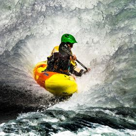 white water kayaker at skookumchuck british columbia