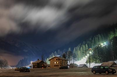 Foggy night in Engelberg