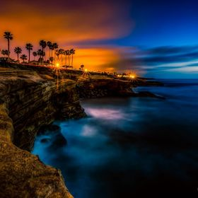 A shot of Sunset Cliffs (San Diego) about an hour after sundown, using a long exposure to make it brighter and the water misty.