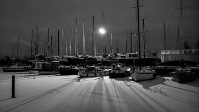Wintry marina at night