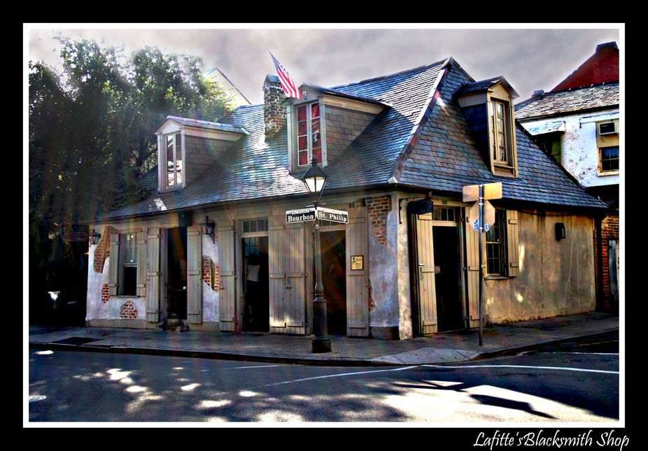 Lafitte\'s Blacksmith Shop is a tavern located on the corner of Bourbon Street and St. Philip Stre...