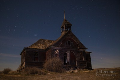 Old Schoolhouse Under the Stars
