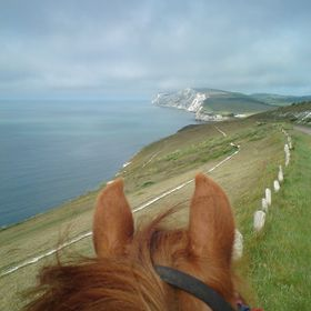 Morning ride along the cliff top above Freshwater Bay, Isle of Wight