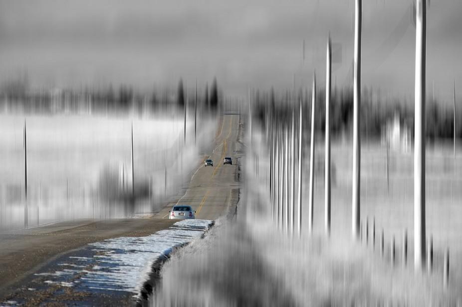 Blurred road, Calgary, AB, Canada.