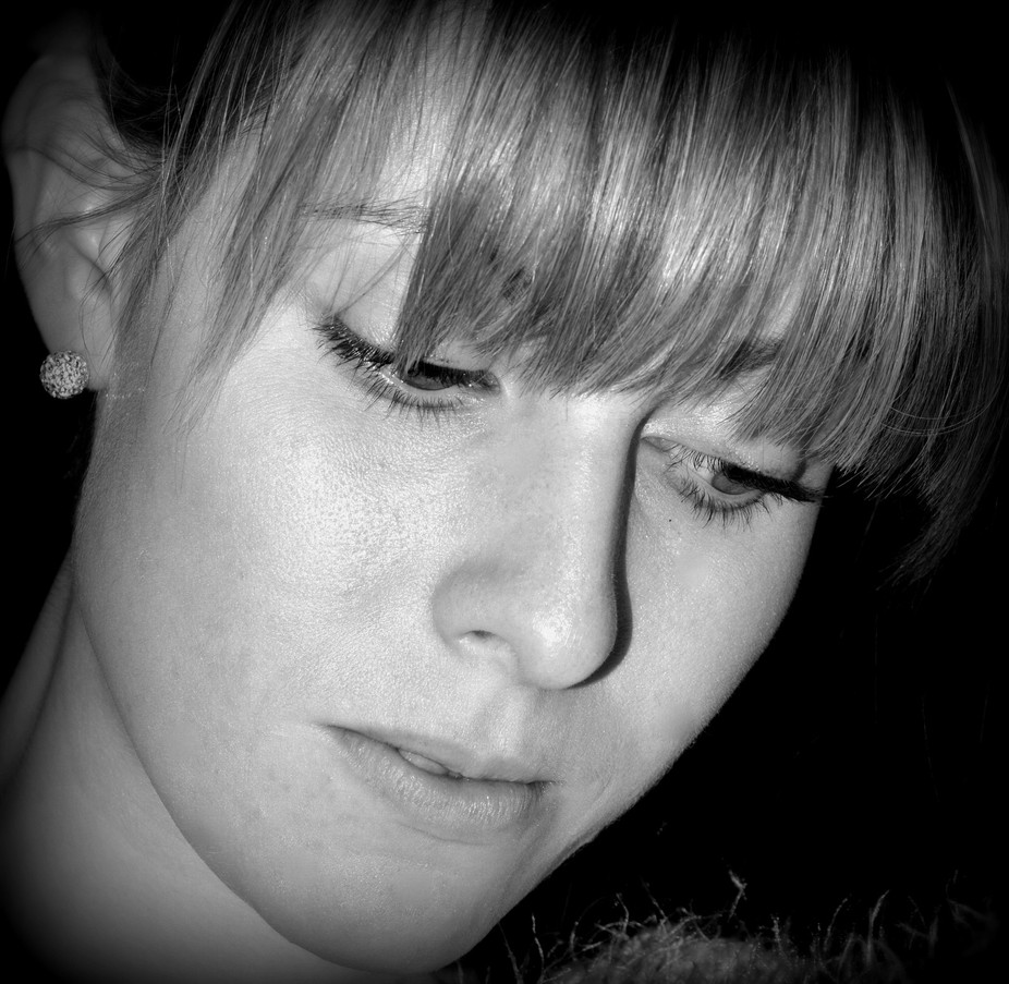 Beth face black and white