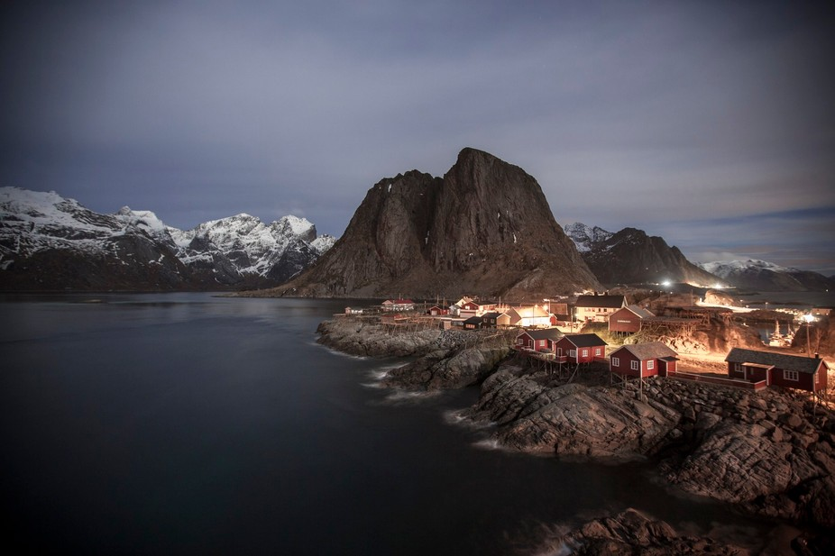 Small fishing village at not in the lofoten islands in Norway