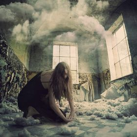 She's insane. She's tearing down the clouds. Don't go in her room while she's busy. Background image courtesy of the contributors at Pixabay.