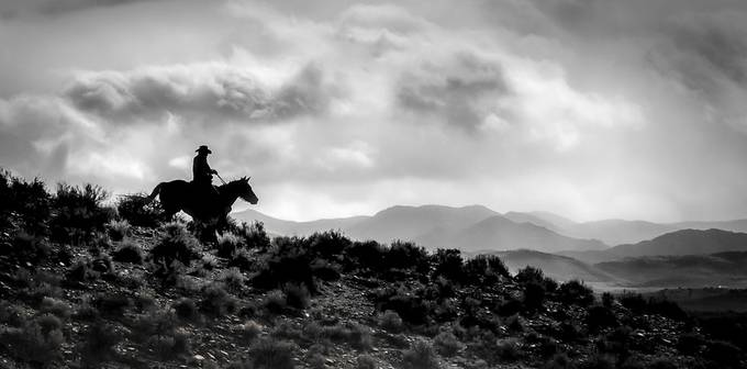 Silhouette of a Lone Cowboy and his Land by FaithPhotography - Black And White Compositions Photo Contest