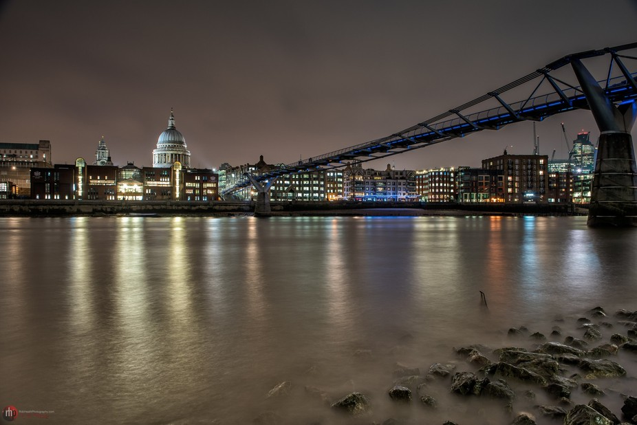 St Pauls and the Millennium Bridge at low tide