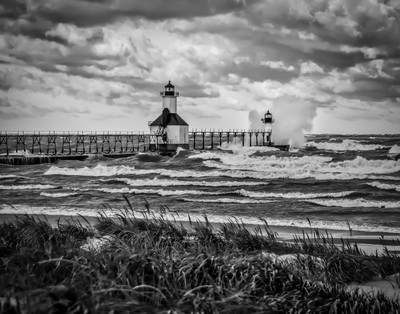 Lighthouse with Gale Force Winds in B&W-jpg 155