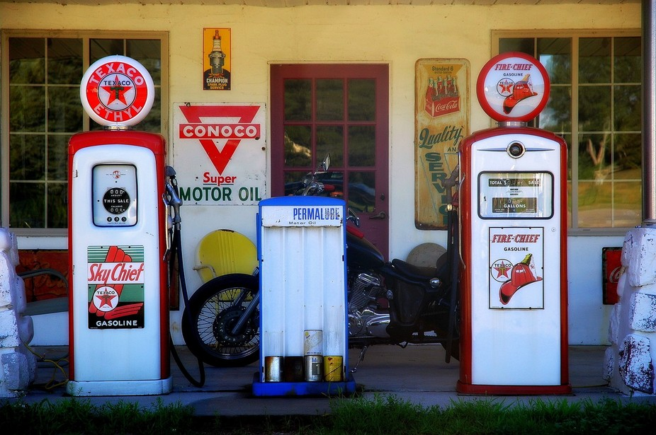 Gas station of the beaten Path , in western Michigan
