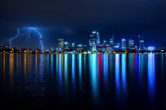 0215 City of Lights and Lightning by dannyreardon - Light On Water Photo Contest
